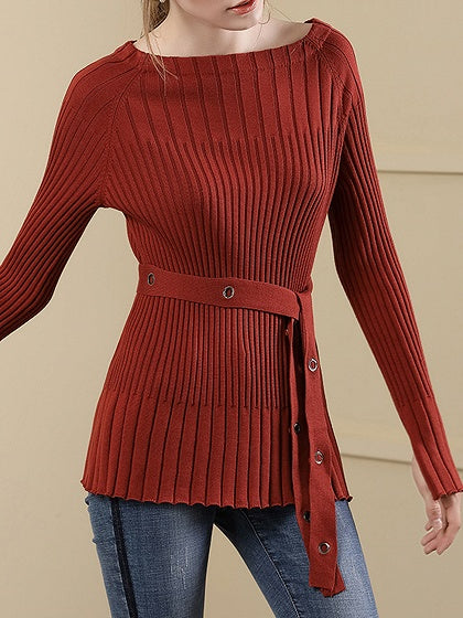 Red Knit Sweater Off Shoulder Eyelet Tie Waist Flare Sleeve