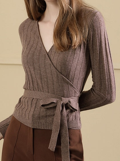 Camel Women Knit Sweater Brown V-neck Tie Waist Long Sleeve