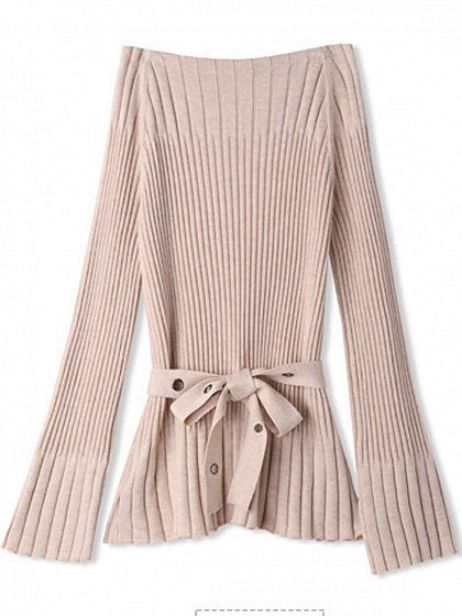 Camel Brown Knit Sweater Off Shoulder Eyelet Tie Waist Flare Sleeve