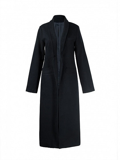 Black Lapel Long Sleeve Wool Blend Longline Coat