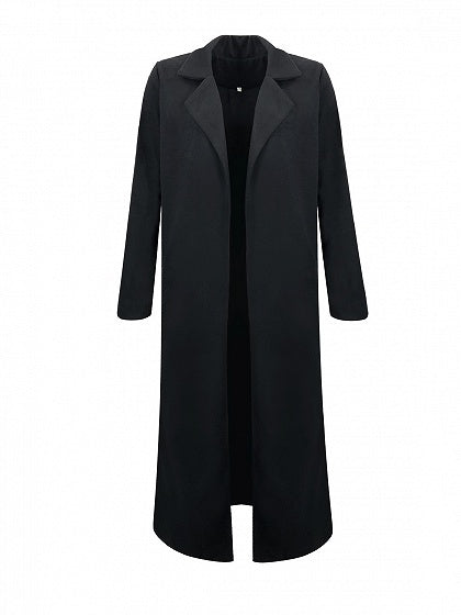 Black Lapel Long Sleeve Chic Women Wool Blend Longline Coat
