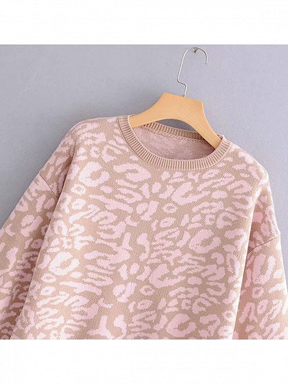Pink Women Sweater Crew Neck Leopard Print Puff Sleeve