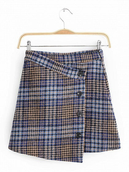 Blue Houndstooth Print High Waist Button Placket Front Mini Skirt