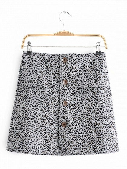 Gray High Waist Leopard Print Button Placket Front Mini Skirt