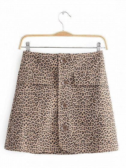 Khaki High Waist Leopard Print Button Placket Front Mini Skirt