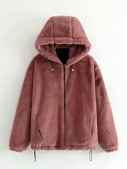 Pink Long Sleeve Women Fluffy Hooded Coat