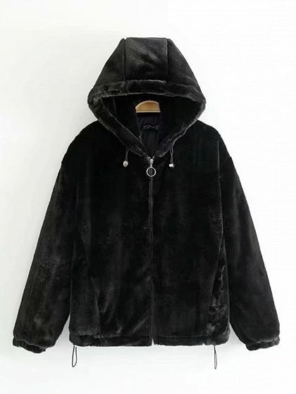Black Long Sleeve Women Fluffy Hooded Coat