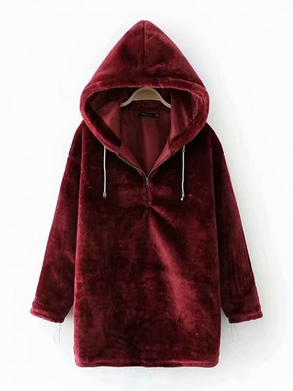 Burgundy Zip Front Long Sleeve Women Velvet Hoodie