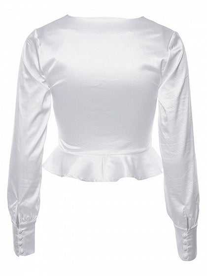 White Plunge Ruffle Hem Puff Sleeve Women Crop Shirt