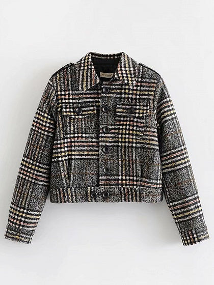 Gray Plaid Lapel Long Sleeve Women Jacket