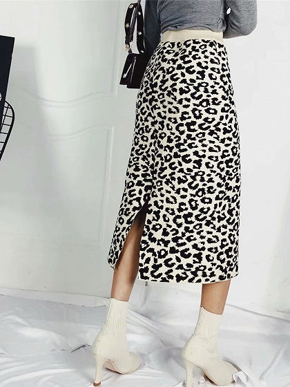 Beige Women Knit Midi Skirt High Waist Leopard Print