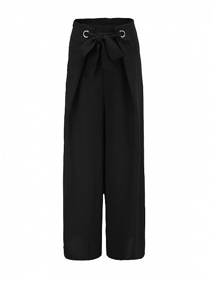 Black Eyelet Tie Waist Women Wide Leg Pants