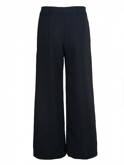 Black Tie Waist Pocket Detail Women Wide Leg Pants