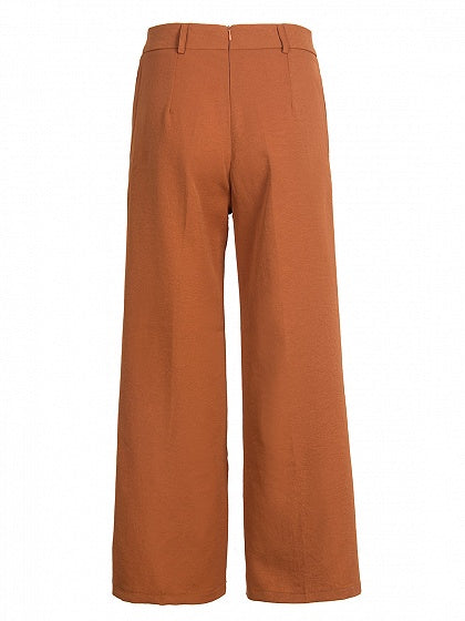Brown Tie Waist Pocket Detail Women Wide Leg Pants