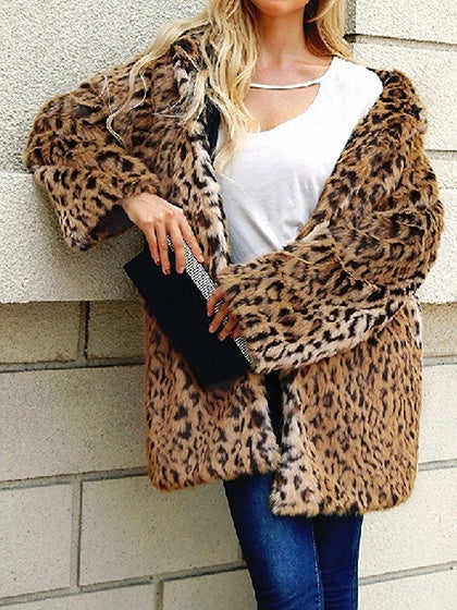 Brown Women Hooded Coat Faux Fur Leopard Print Long Sleeve