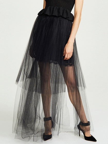 Black Maxi Skirt High Waist Asymmetric Hem Sheer Mesh