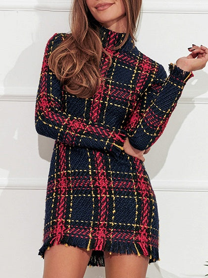 Red Women Mini Dress Plaid High Neck Tassel Trim Long Sleeve