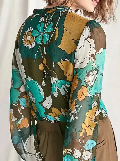 Polychrome Women Shirt Chiffon Floral Print Long Sleeve