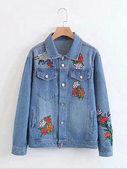 Blue Women Jacket Bird And Floral Embroidery Long Sleeve