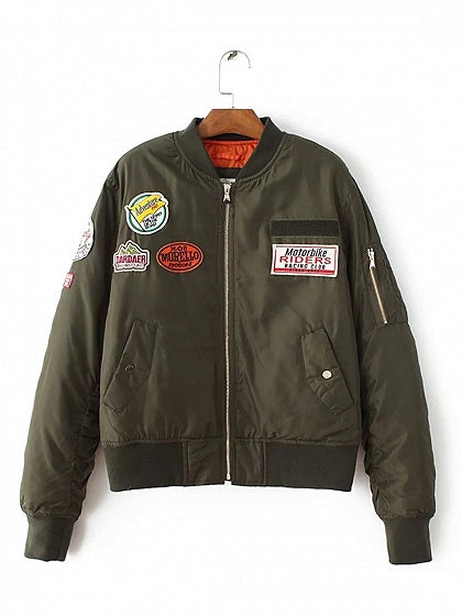 Army Green Bomber Jacket Cotton Badge Stickers Long Sleeve