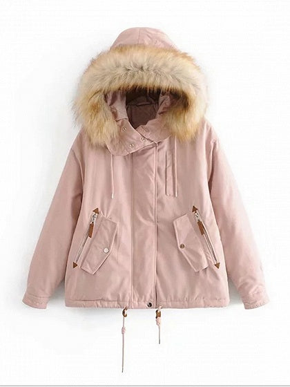 Pink Women Fur Hooded Coat Pockets Detail Long Sleeve