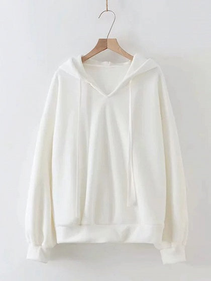 White Women Hoodie Drawstring Detail Long Sleeve
