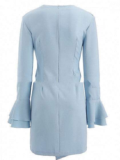 Blue Women Mini Dress V-neck Ruffle Trim Flare Sleeve