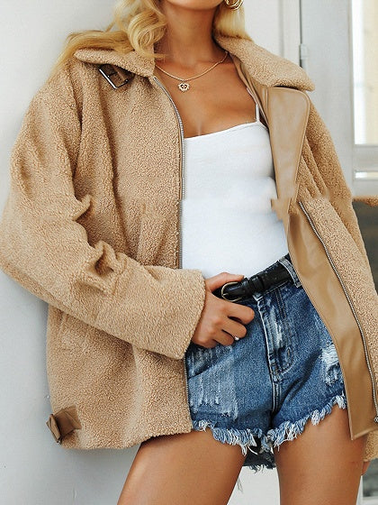 Khaki Women Coat Faux Shearling Lapel Long Sleeve