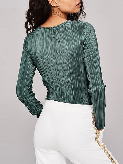 Green Women Bodysuit V-neck Ruched Detail Long Sleeve