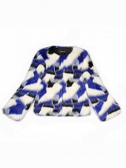 Blue Women Faux Fur Coat Contrast Open Front Long Sleeve