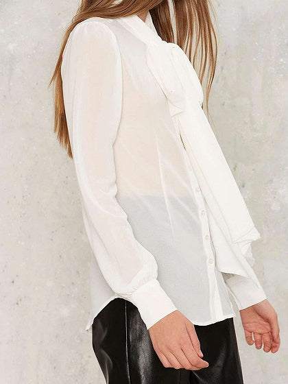 White Women Shirt V-neck Tie Front Long Sleeve