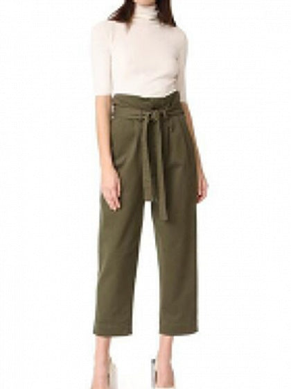 Green Women Pants High Waist Removable Shoulder Strap