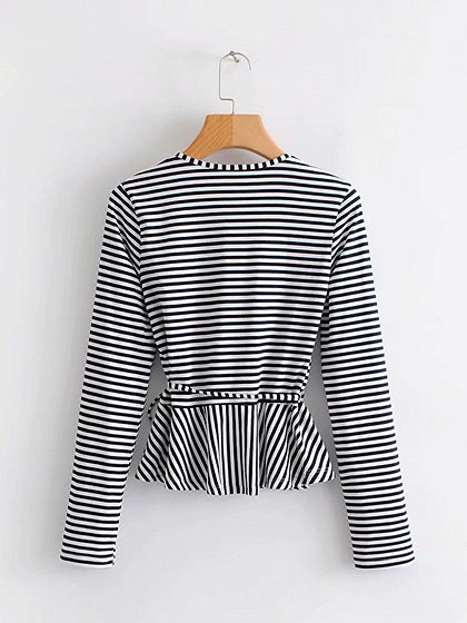 Black Women Tee Stripe V-neck Tie Waist Long Sleeve