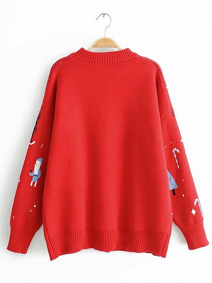 Red Women Sweater Christmas Snowman Print Long Sleeve