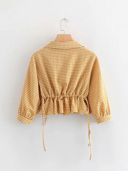Yellow Women Blouse Plaid Lapel Ruffle Hem Puff Sleeve