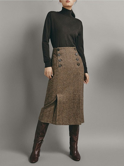 Khaki Women Midi Skirt High Waist Double Breasted Front