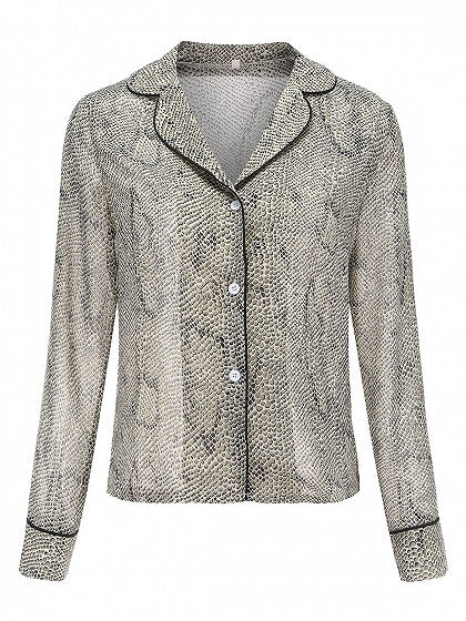 Gray Women Blouse Snakeskin Print Long Sleeve