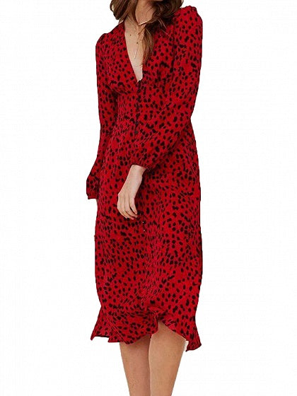 Red Women Midi Dress V-neck Leopard Print Long Sleeve