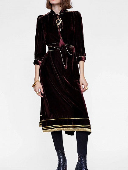 Burgundy Midi Dress Velvet Tie Waist Split Side Long Sleeve