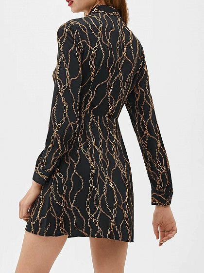 Black Women Mini Dress Chain Print Tie Waist Long Sleeve
