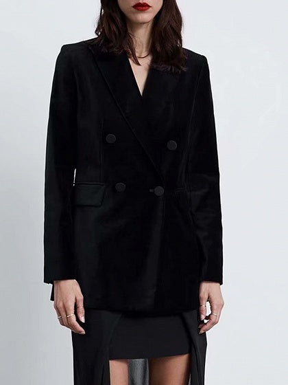 Black Women Blazer Velvet Lapel Pockets Detail Long Sleeve