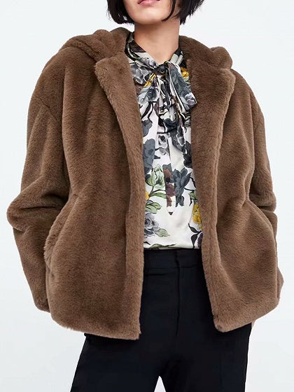 Camel Brown Women Hooded Coat Faux Fur Long Sleeve