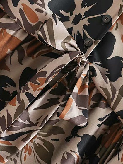 Army Green Midi Dress V-neck Floral Print Tie Waist Long Sleeve