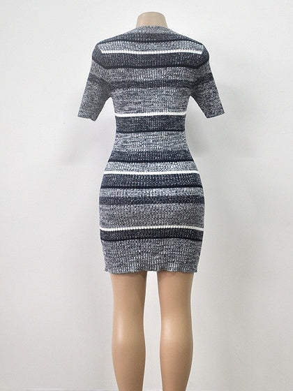 Gray Women Knit Mini Dress Stripe Crew Neck