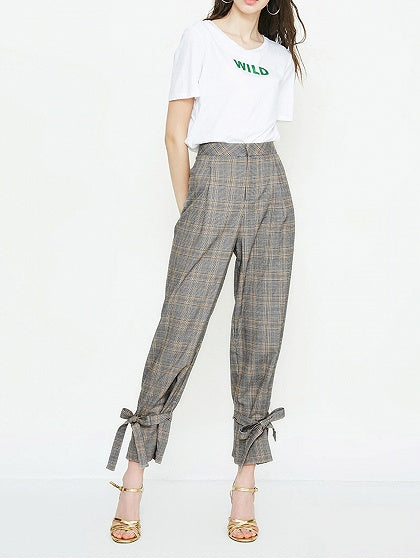Gray Women Pants Plaid High Waist Bow Tie Front