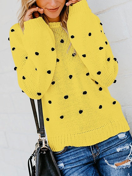 Yellow Women Sweater Crew Neck Fluffy Ball Long Sleeve