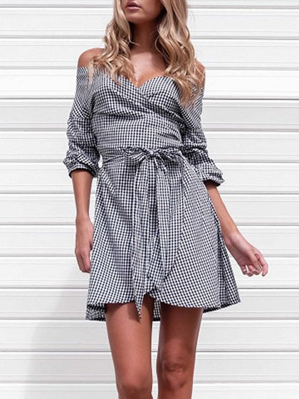 Black Mini Dress Stripe V-neck Cold Shoulder Long Sleeve