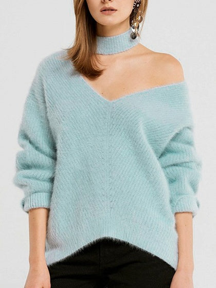 Blue Women Sweater Cold Shoulder V-neck Long Sleeve