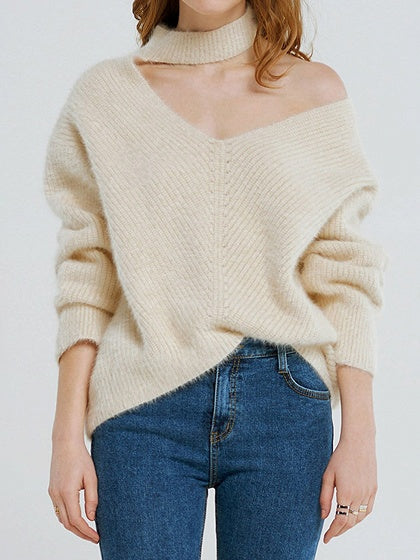 Beige Women Sweater Cold Shoulder V-neck Long Sleeve