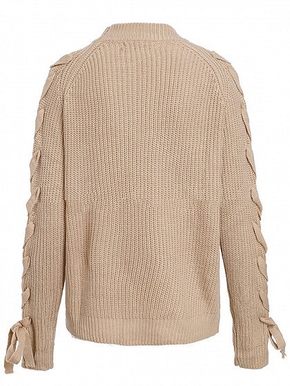 Camel Brown Women Sweater Crew Neck Lace Up Side Long Sleeve